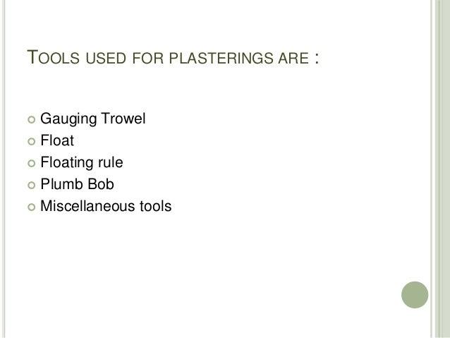 Tools used for Plastering Slide 2
