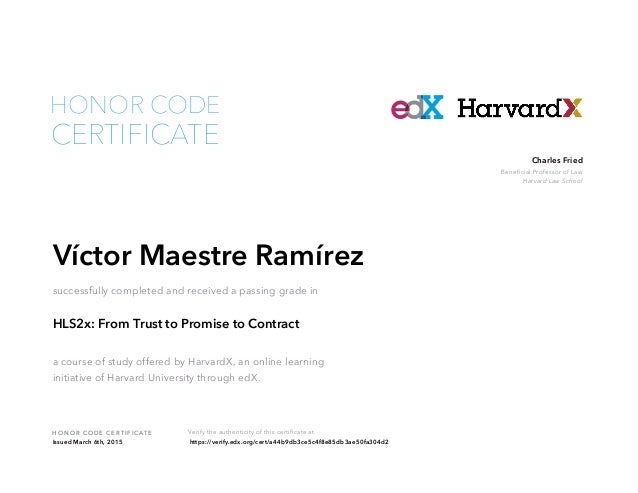 Contracts Harvard Certificate - Online contract law
