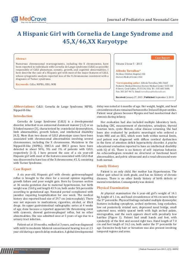 literature review cornelia de lange syndrome