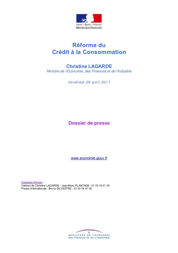 Réforme du                       Crédit à la Consommation                                 Christine LAGARDE               ...