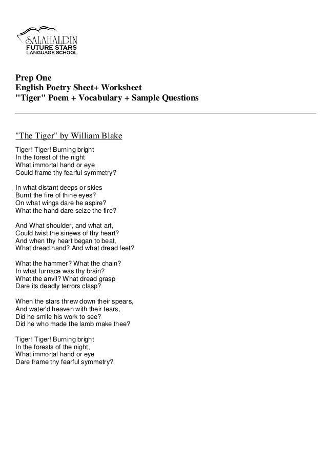 Translations Into Italian: Prep (1) Tiger Poem Worksheet