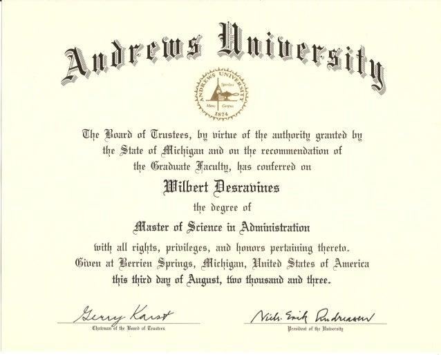 Andrews University diploma