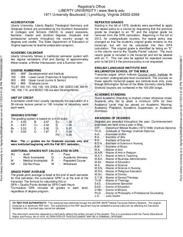 Liberty University Academic Calendar.Completed Transcript 5429617