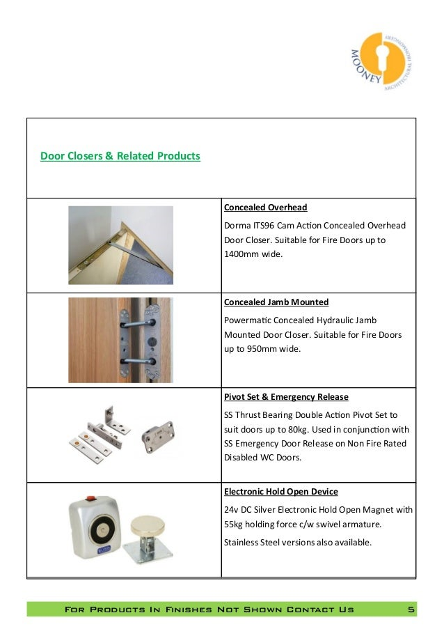 Mooney Ironmongery Product Overview