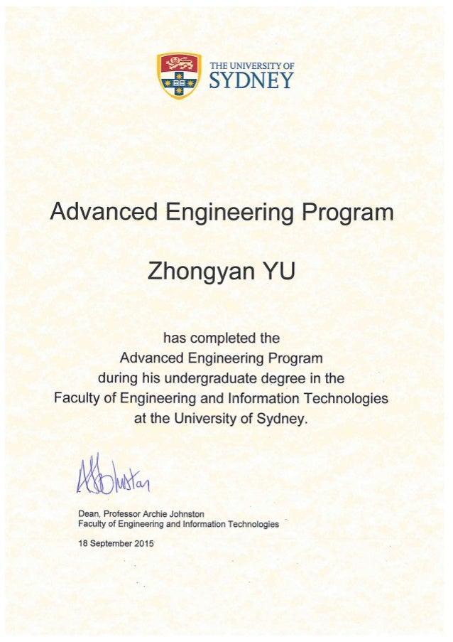 Advanced Engineering Program Certificate