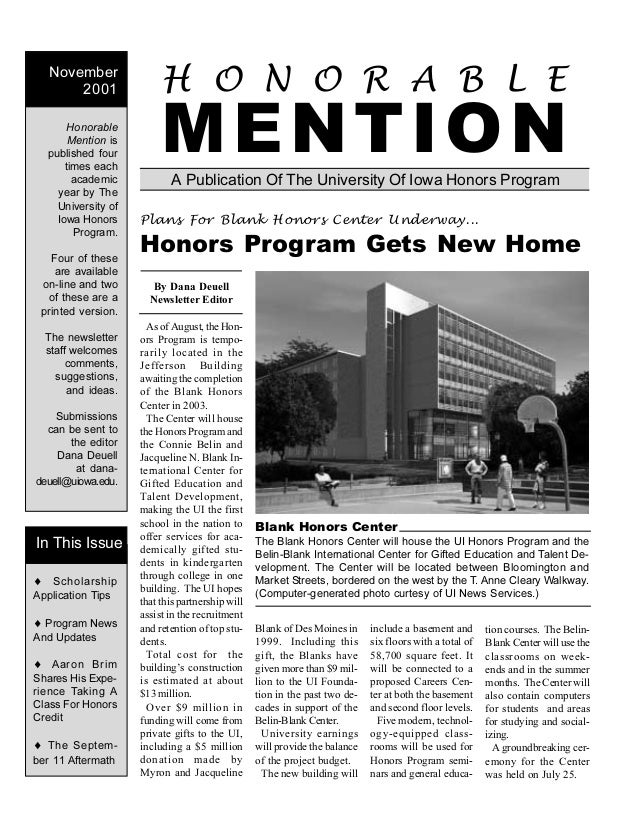 A Publication Of The University Of Iowa Honors Program H O N O R A B L E MENTIONHonorable Mention is published four times ...