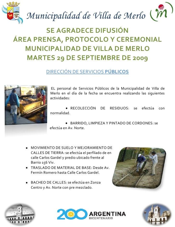 Municipalidad de Villa de Merlo         SE AGRADECE DIFUSIÓN ÁREA PRENSA, PROTOCOLO Y CEREMONIAL    MUNICIPALIDAD DE VILLA...
