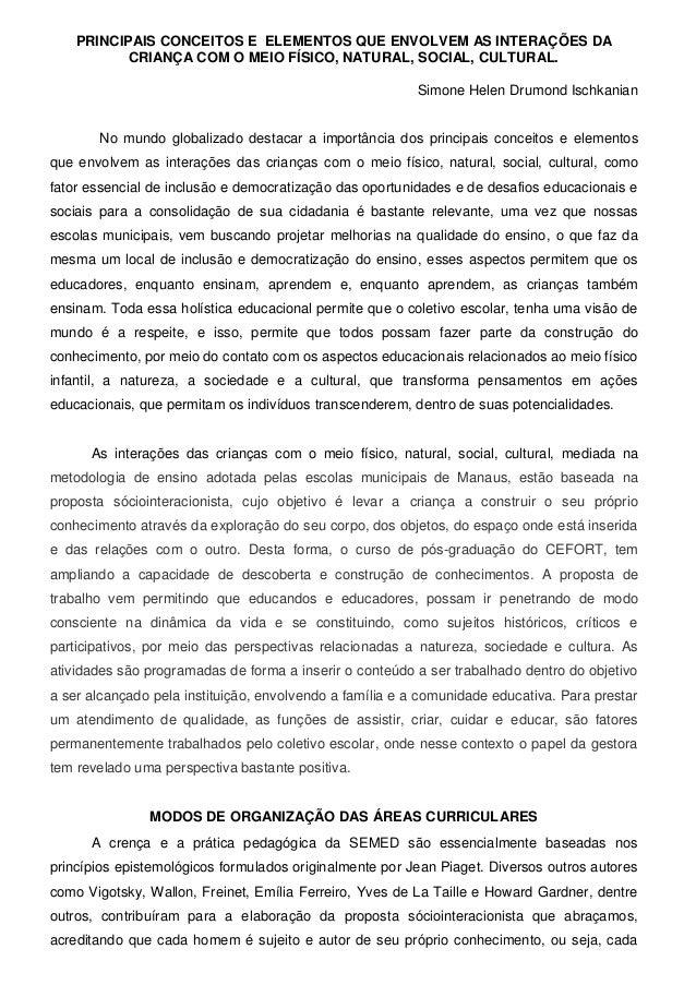 PRINCIPAIS CONCEITOS E ELEMENTOS QUE ENVOLVEM AS INTERAÇÕES DA CRIANÇA COM O MEIO FÍSICO, NATURAL, SOCIAL, CULTURAL. Simon...