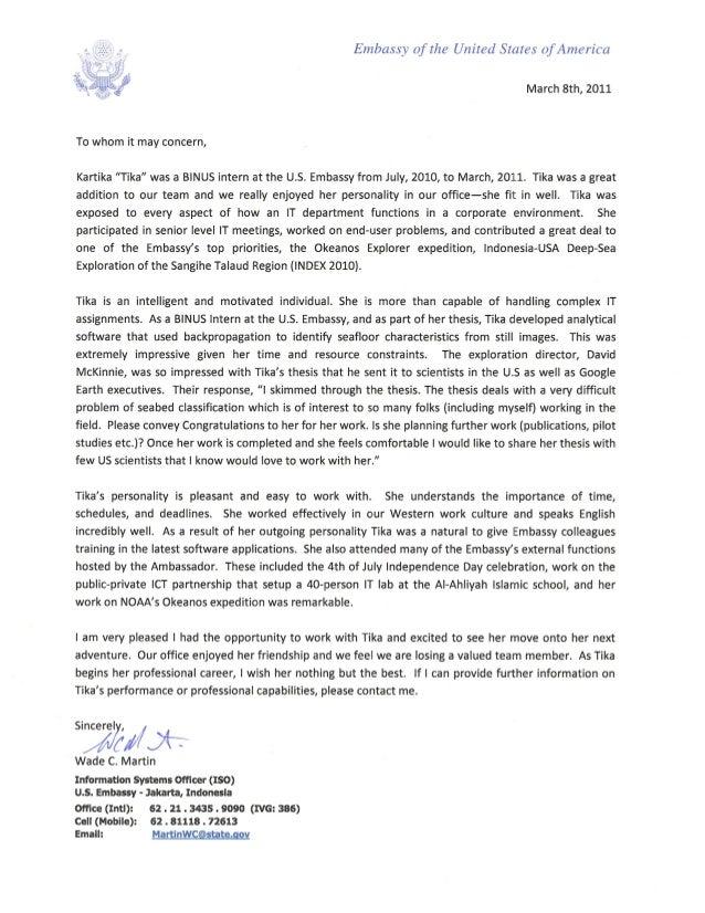 U S  Embassy reference letter- Tika