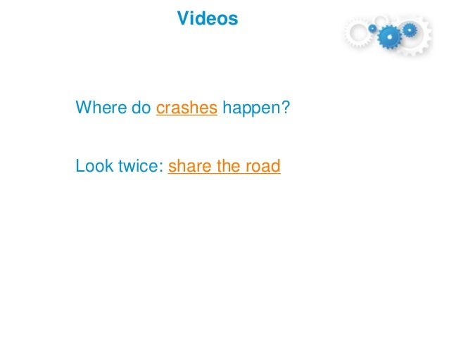 Where do crashes happen? Look twice: share the road Videos