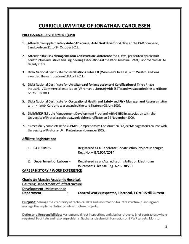Curriculum Vitae Of Jonathan Carolissen Sacpcmp Latest