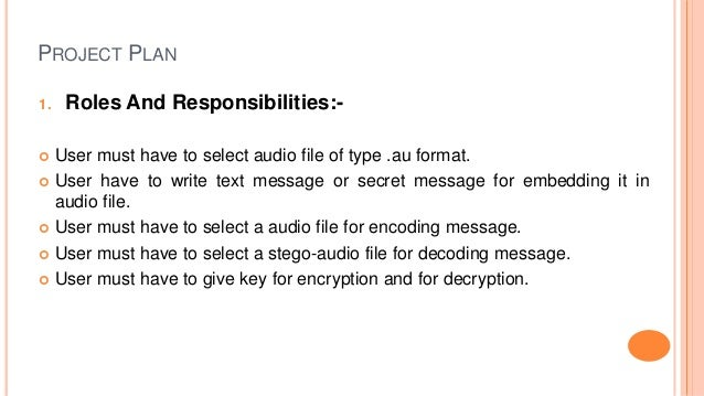 PROJECT PLAN 1. Roles And Responsibilities:-  User must have to select audio file of type .au format.  User have to writ...