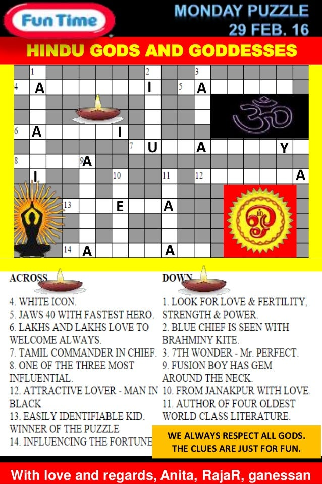 Hindu Gods And Goddesses Crossword Puzzle