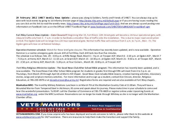 29 February 2012 1HBCT Weekly News Update: please pass along to Soldiers, Family and Friends of 1HBCT. You can always stay...