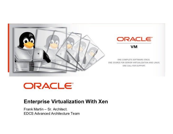 <Insert Picture Here>Enterprise Virtualization With XenFrank Martin – Sr. Architect.EDCS Advanced Architecture Team