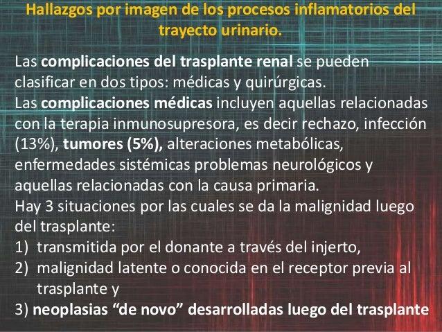 Hallazgos por imagen de los procesos inflamatorios del trayecto urinario. Las complicaciones del trasplante renal se puede...