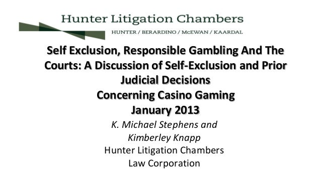 Michael Stephens - Self-Exclusion, Responsible Gambling and the Courts Slide 3