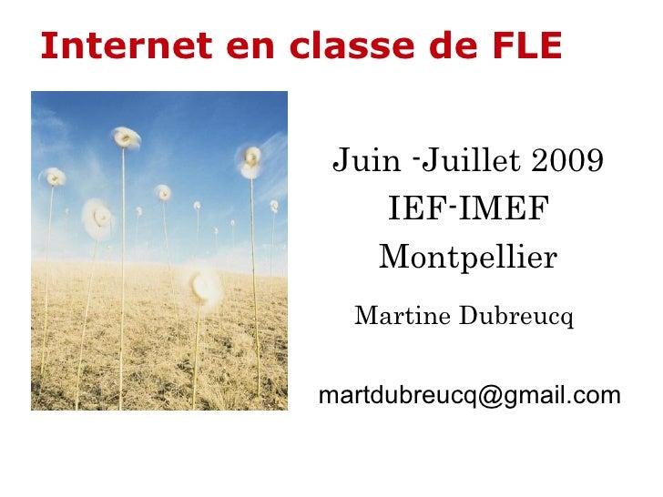 Internet   en classe de FLE Juin -Juillet 2009 IEF-IMEF Montpellier Martine Dubreucq [email_address]