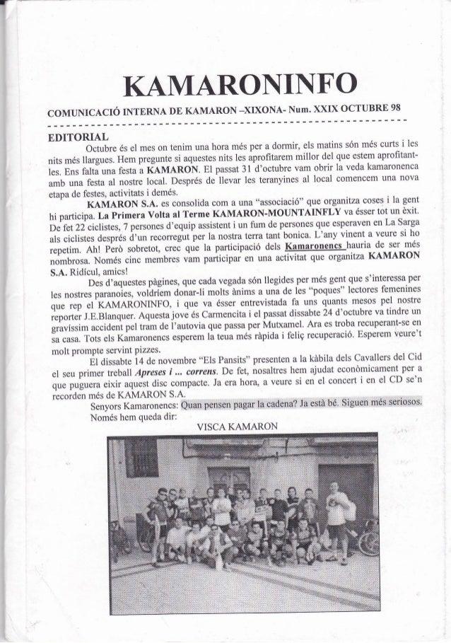 KAMARONINFO                    OCTUBRE 98COMUNICACTÓ INTERNA DE KAMARON -XIXONA- NUM. XXIXEDITORIAL                       ...