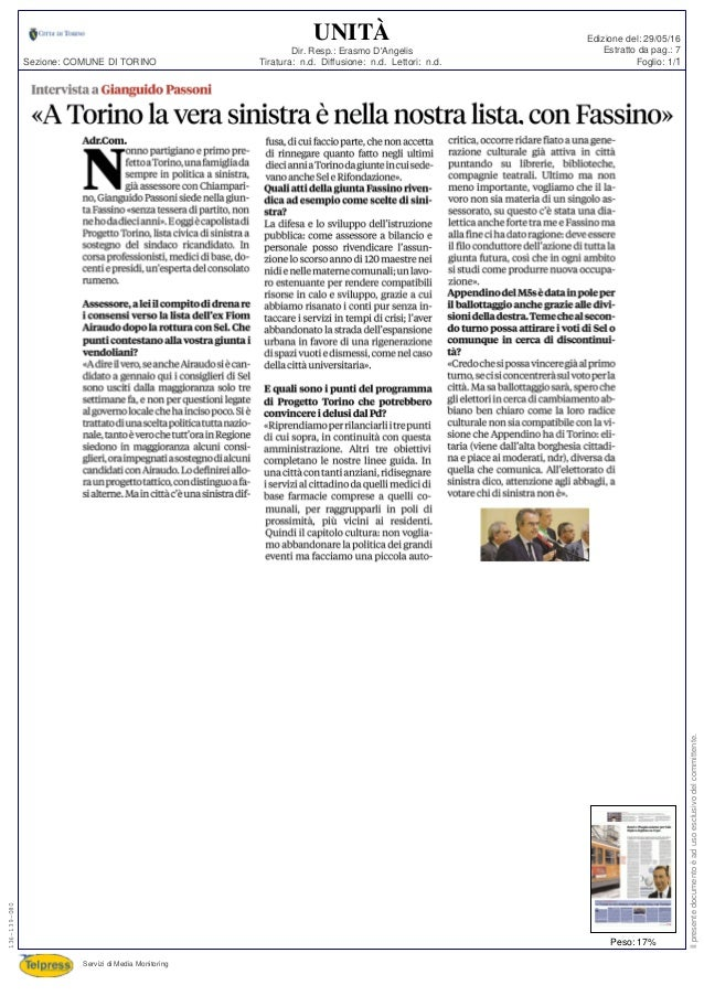 Tiratura: n.d. Diffusione: n.d. Lettori: n.d. Dir. Resp.: Erasmo D'Angelis Servizi di Media Monitoring Sezione: COMUNE DI ...