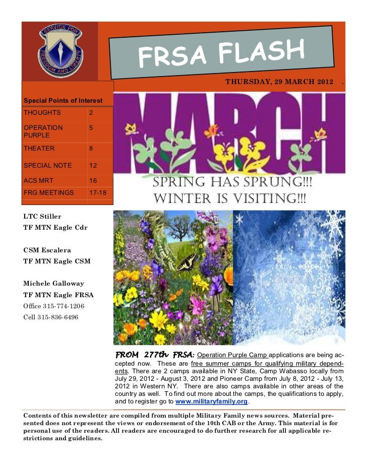 FRSA FLASH                                                                    THURSDAY, 29 MARCH 2012                 .Spe...