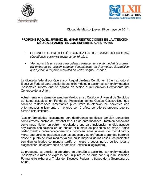 Ciudad de México, jueves 29 de mayo de 2014. PROPONE RAQUEL JIMÉNEZ ELIMINAR RESTRICCIONES EN LA ATENCIÓN MÉDICA A PACIENT...