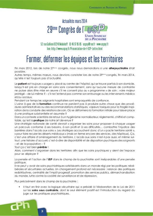 www.cphwehweb.info 14 Actualitésmars2014 29ème Congrèsdel' 52rueGallieni92240Malakoff 0146578585 uspsy@free.fr www.uspsy.f...