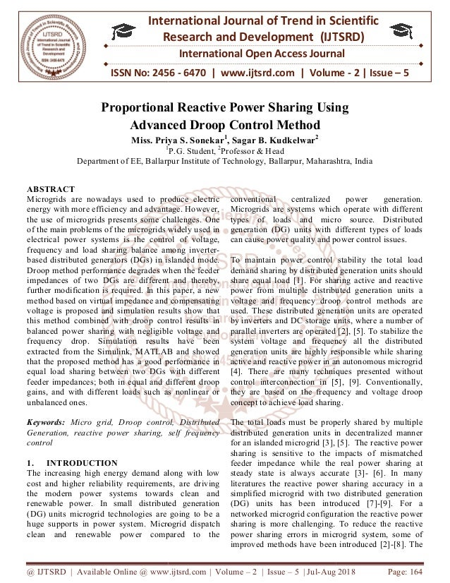 Proportional Reactive Power Sharing Using Advanced Droop