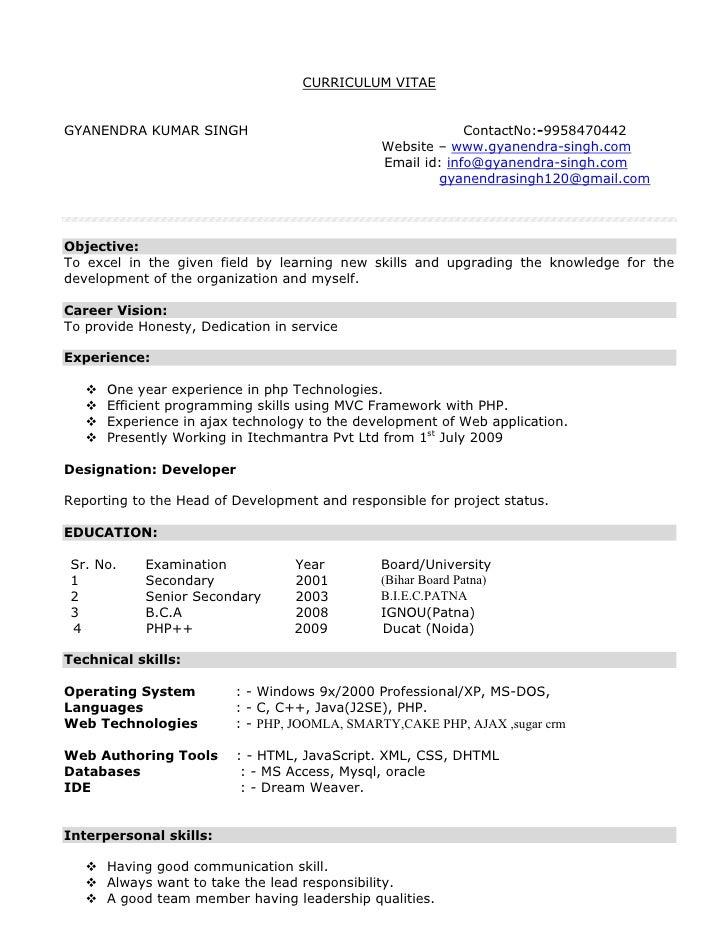 CURRICULUM VITAE   GYANENDRA KUMAR SINGH                                       ContactNo:-9958470442                      ...