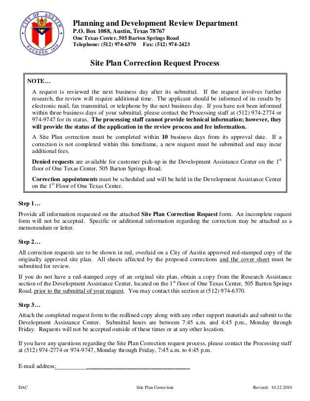 29 site plancorrectionform – City Of Austin Site Plan Application