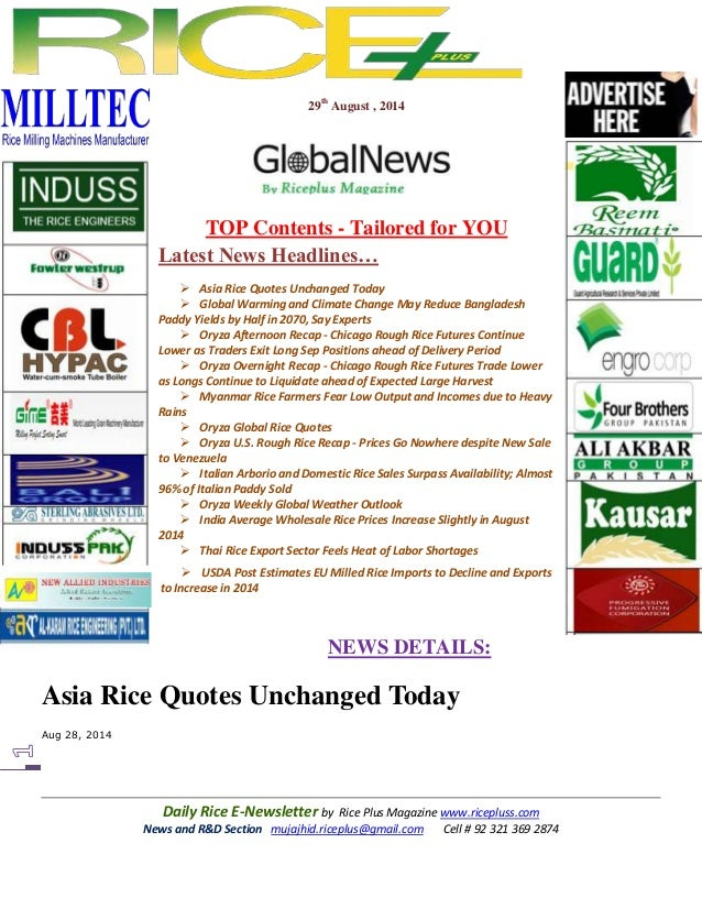 29th August , 2014  TOP Contents - Tailored for YOU  Latest News Headlines…   Asia Rice Quotes Unchanged Today   Global ...