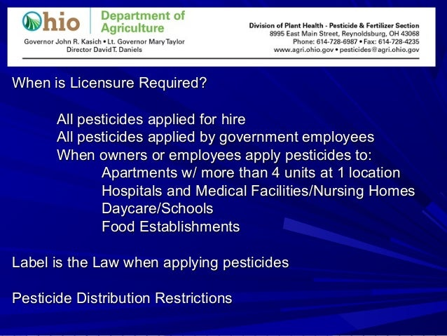 When is Licensure Required?When is Licensure Required? All pesticides applied for hireAll pesticides applied for hire All ...