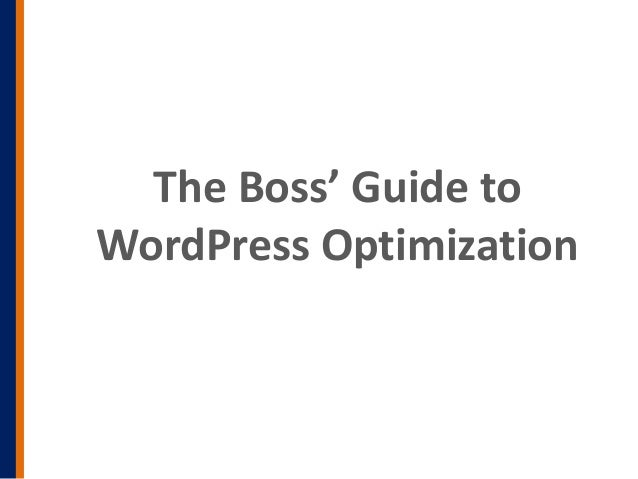 The Boss' Guide toWordPress Optimization