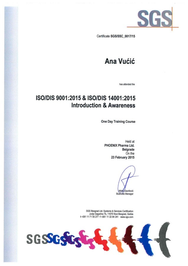 Sgs Certificate Iso Dis 9001 2015iso Dis 14001 2015