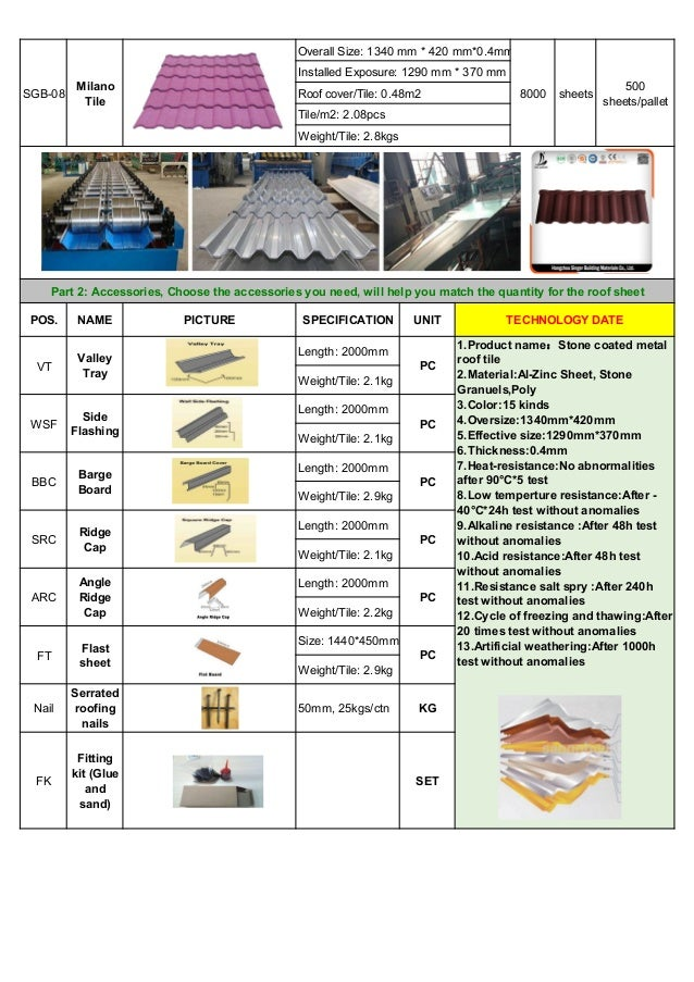 Catalogue of stone coated roofing sheets from SGB-China Slide 2