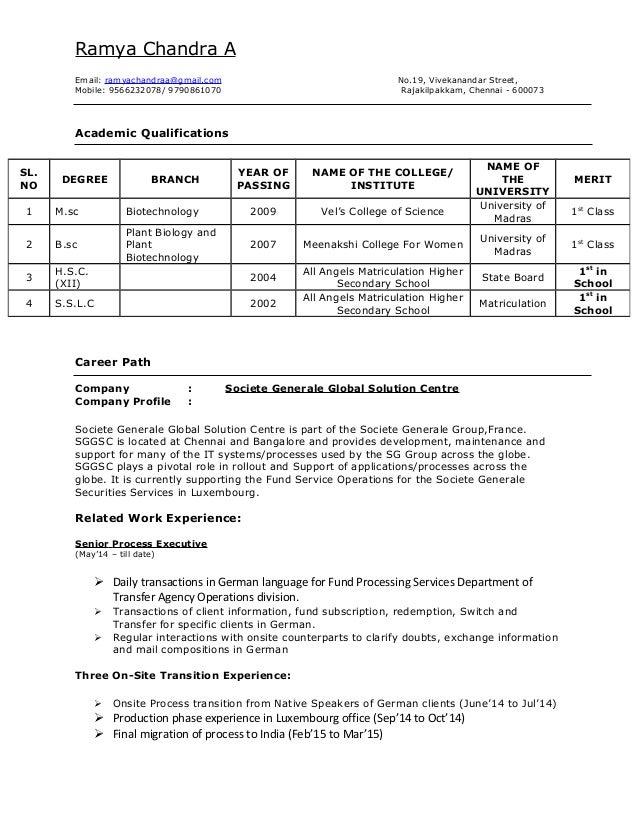 My resume - Societe generale chennai office address ...