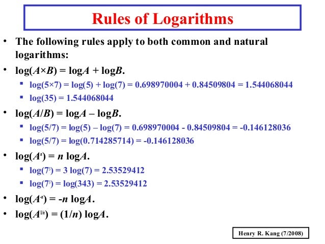 log rules Logarithm and exponential questions with solutions and answers for grade 12.