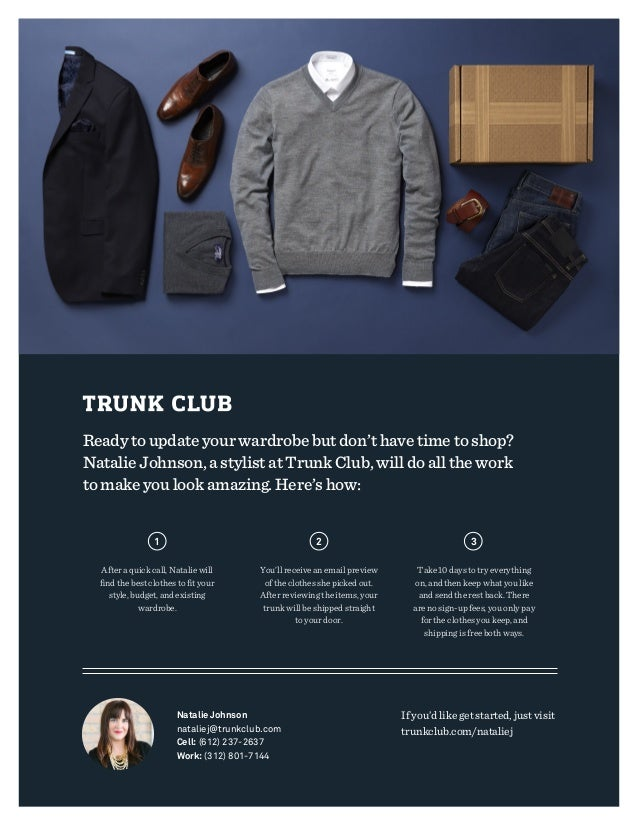 Ready to update your wardrobe but don't have time to shop? Natalie Johnson, a stylist at Trunk Club, will do all the work ...
