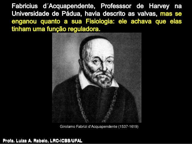 Fabricius d´Acquapendente, Professsor de Harvey na    Universidade de Pádua, havia descrito as valvas, mas se    enganou q...