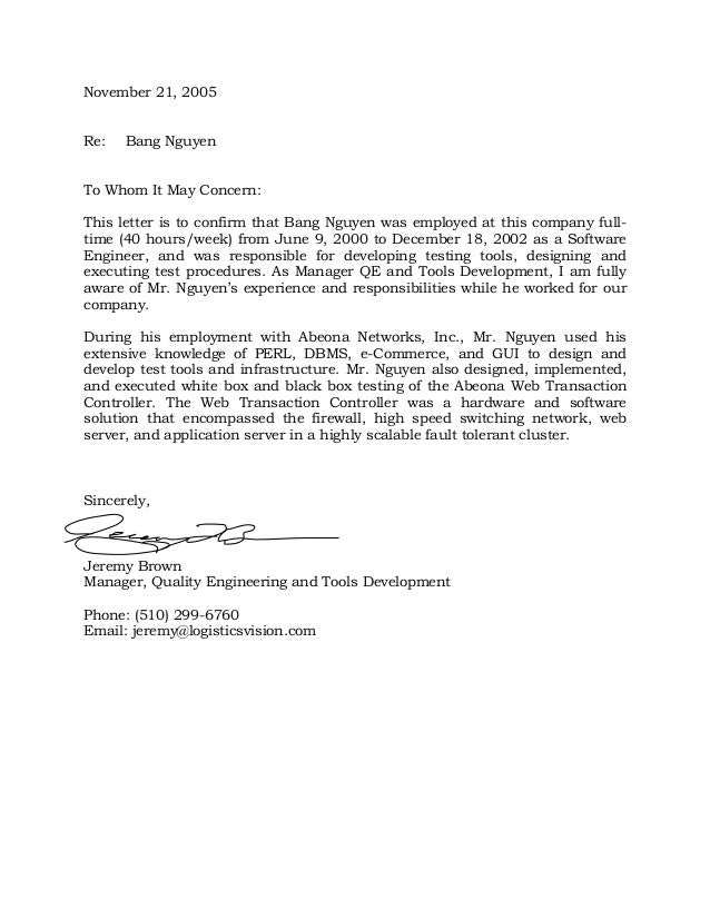 Abeona Networks, Inc. Employment Verification Letter