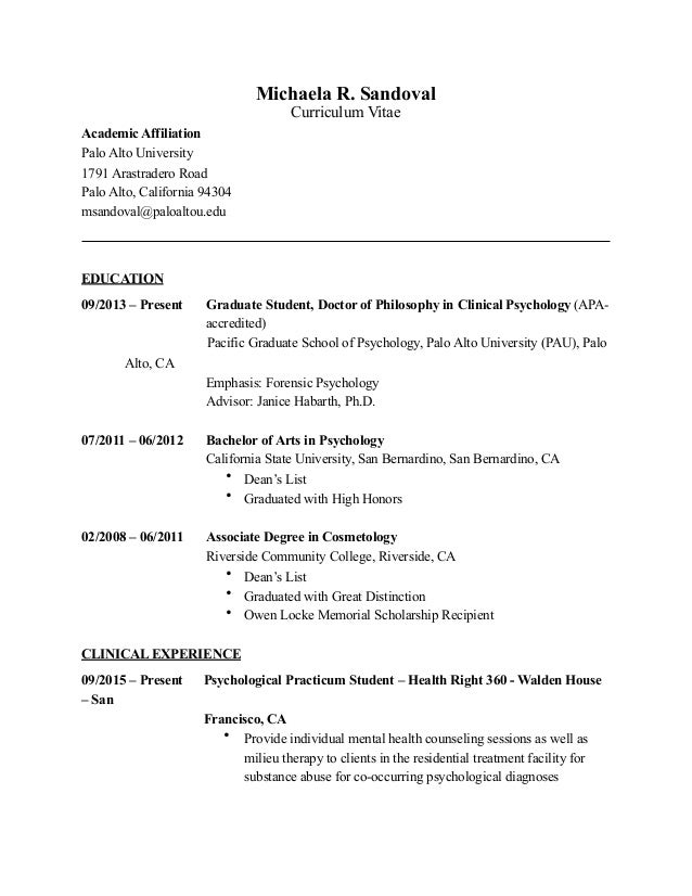 Michaela r sandoval cv for Affiliation in resume sample