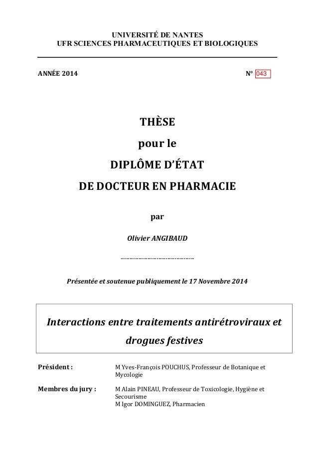 UNIVERSITÉ DE NANTES UFR SCIENCES PHARMACEUTIQUES ET BIOLOGIQUES    ANNÉE  2014                       ...