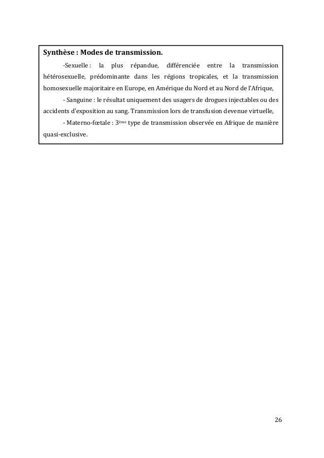 26               Synthèse  :  Modes  de  transmission.     -‐Sexuelle  :   la   plus ...