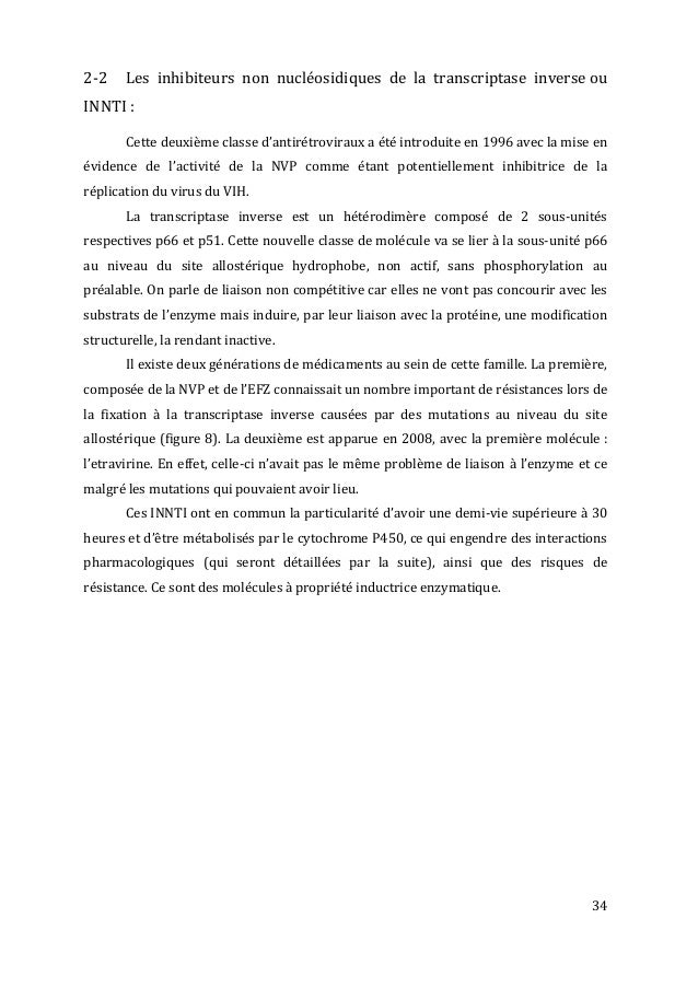 34   2-‐2   Les   inhibiteurs   non   nucléosidiques   de   la   transcriptase   inverse  ou ...