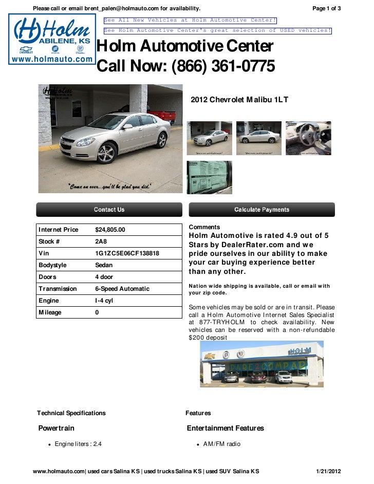 NEW Chevrolet Malibu Salina KS Holm Automotive Center A - Holm chevrolet