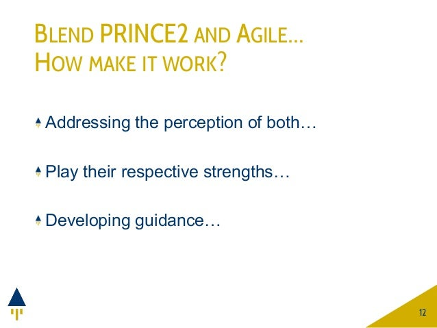BLEND PRINCE2 AND AGILE… HOW MAKE IT WORK? Addressing the perception of both… Play their respective strengths… Developing ...