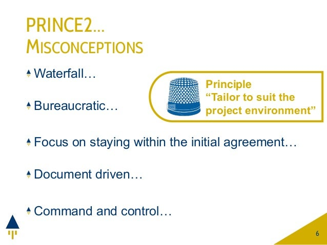 PRINCE2… MISCONCEPTIONS Waterfall… Bureaucratic… Focus on staying within the initial agreement… Document driven… Command a...
