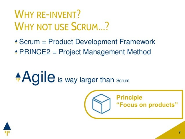 WHY RE-INVENT? WHY NOT USE SCRUM…? Scrum = Product Development Framework PRINCE2 = Project Management Method Agileis way l...