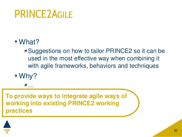 PRINCE2AGILE What? Suggestions on how to tailor PRINCE2 so it can be used in the most effective way when combining it with...