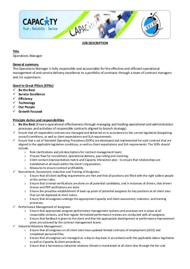 JOB DESCRIPTION Title Operations Manager General Summary The Operations  Manager Is Fully Responsible And Accountable ...